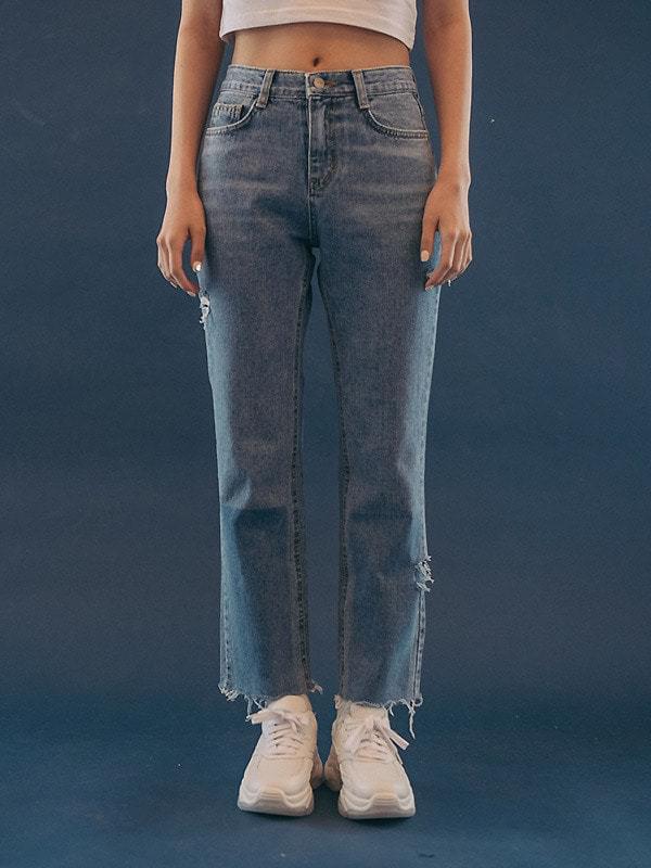 Square color date denim pants