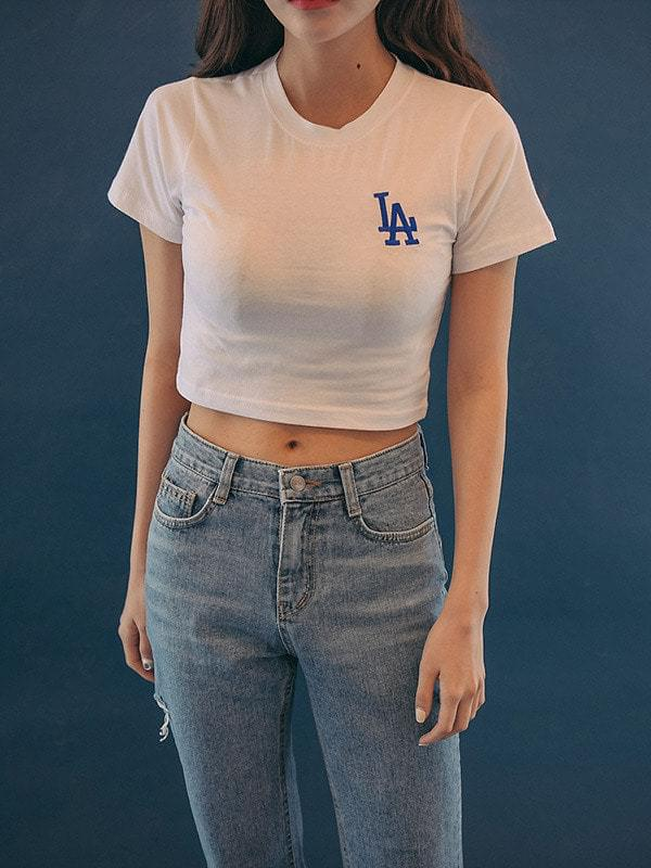 LA embroidered crop short sleeve polo