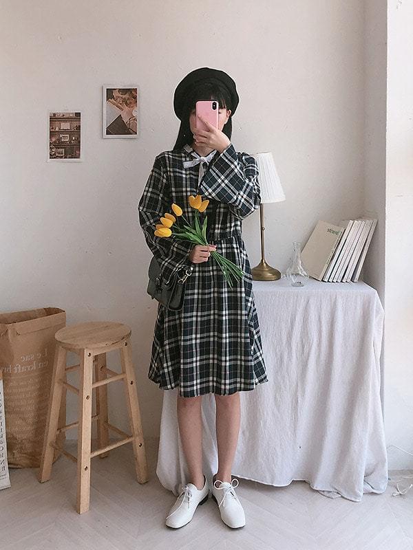 Moring check ribbon dress