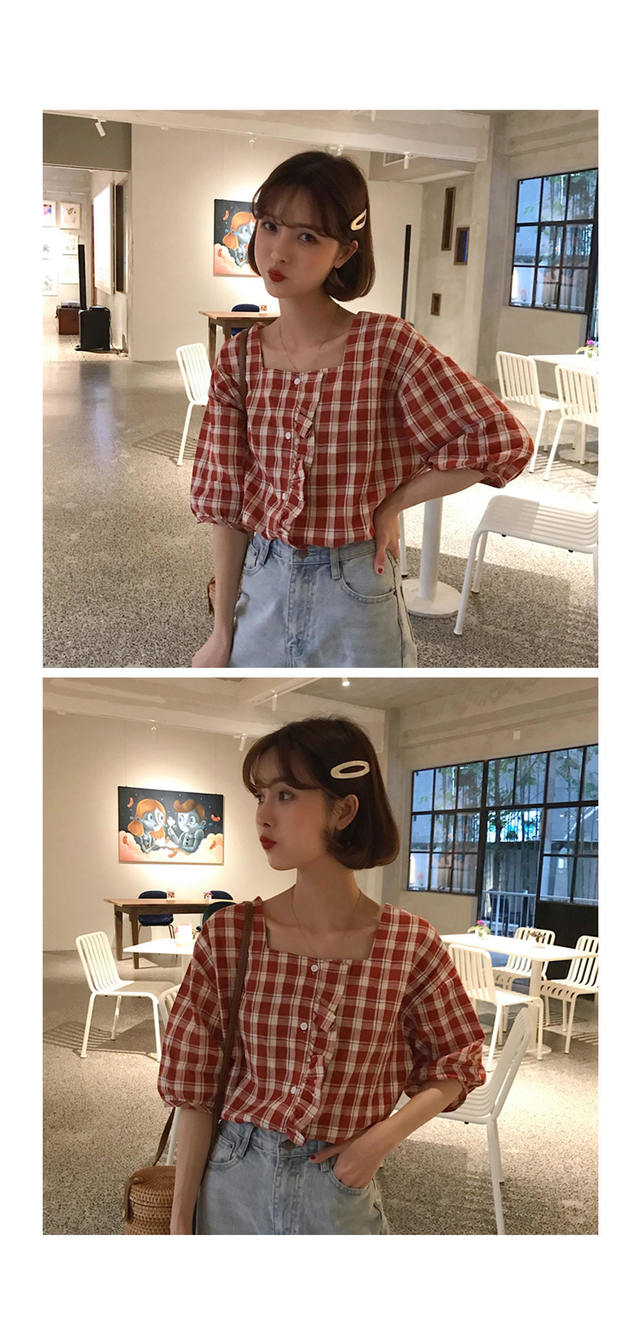 Check candy frilly blouse
