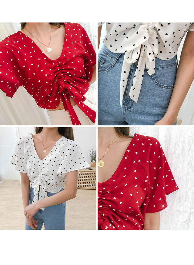 Crop cookie string blouse