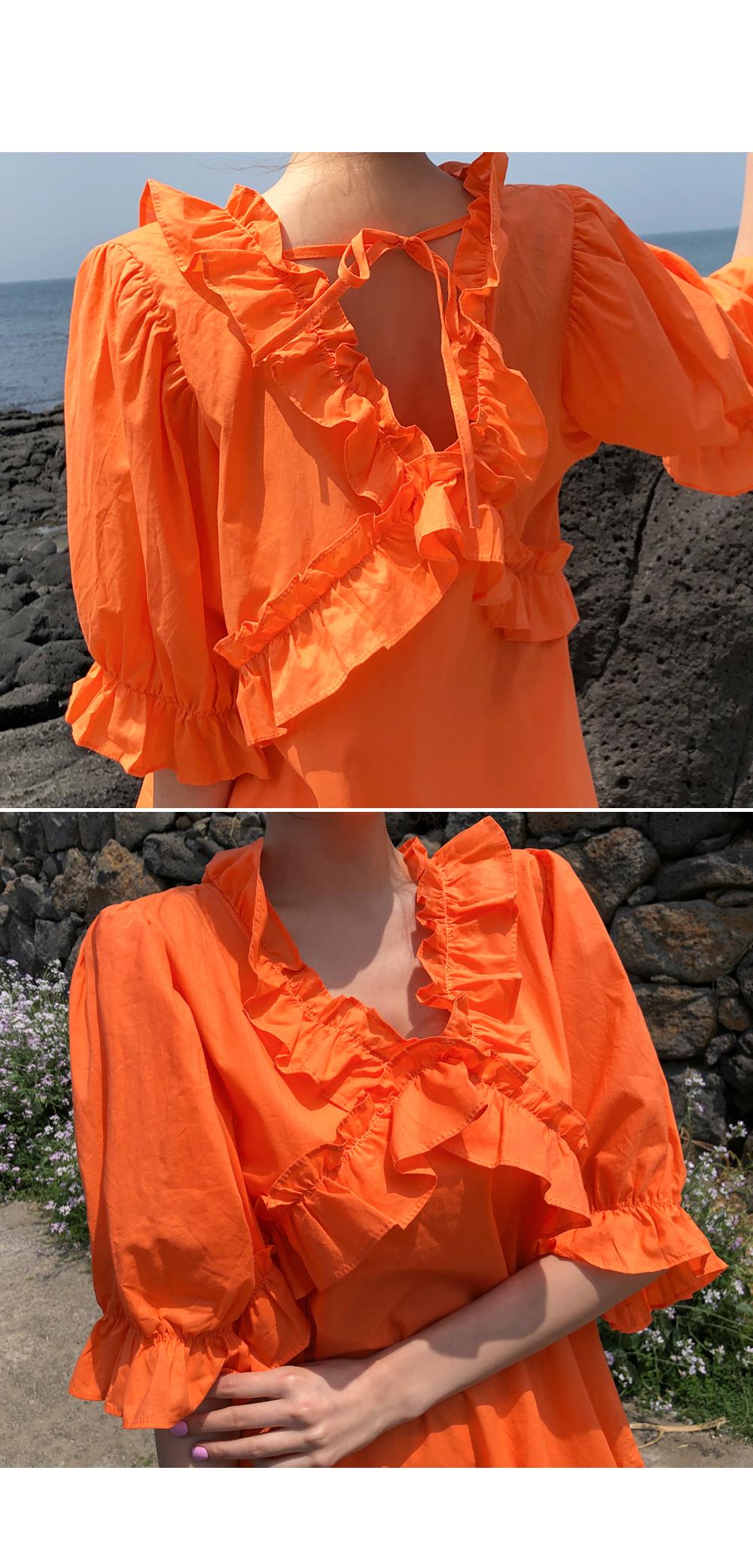 Fashionable frill strap dress