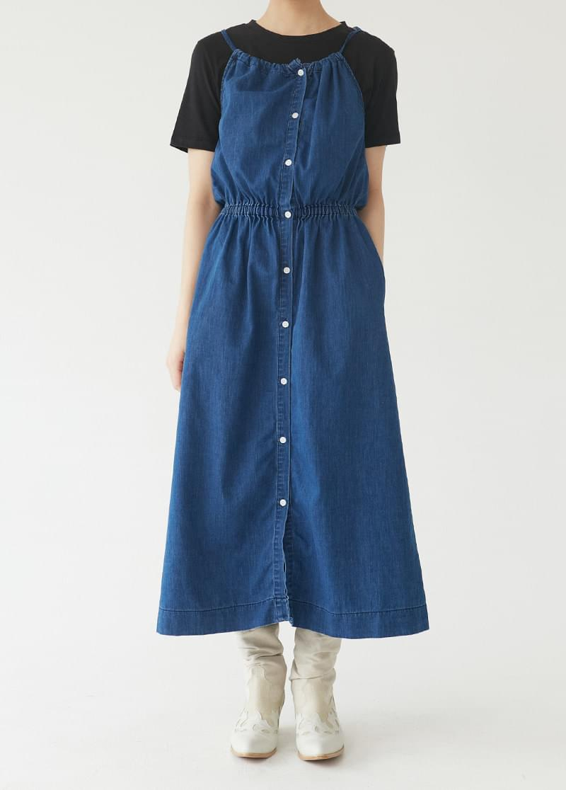 Denim Shirring Dress