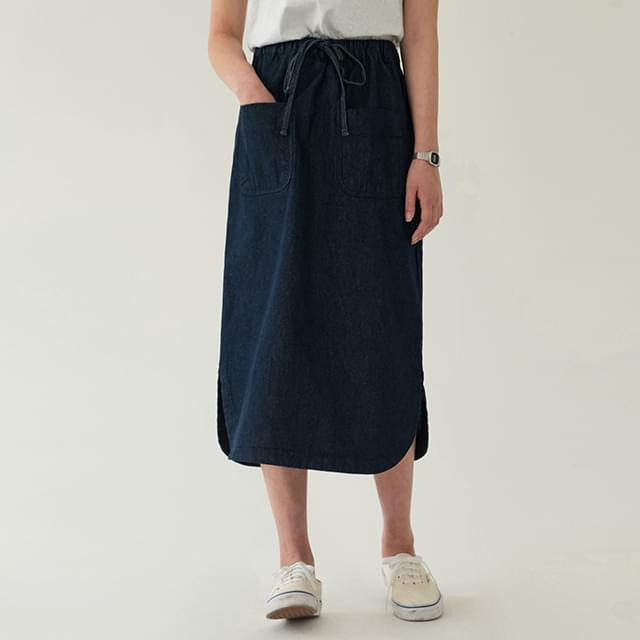 Pocket Bending Denim Long Skirt-sk