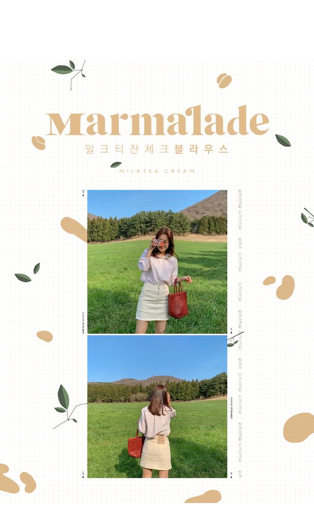 Marmalade ♥. Milk tea check blouse