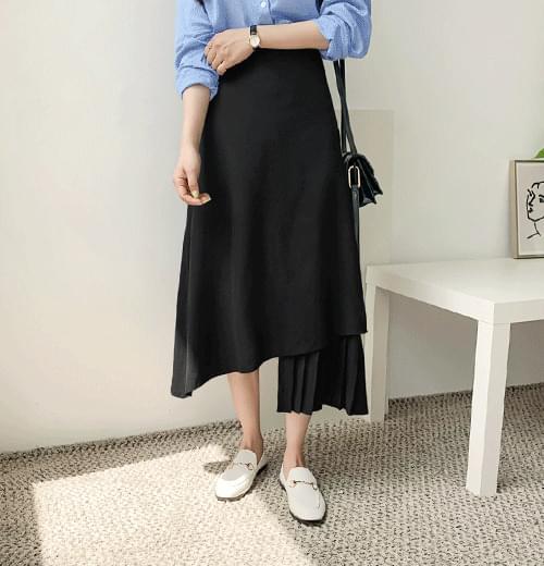 Two-Tone Uniform Long Skirt