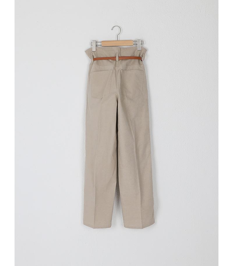 pintuck belt set cotton pants