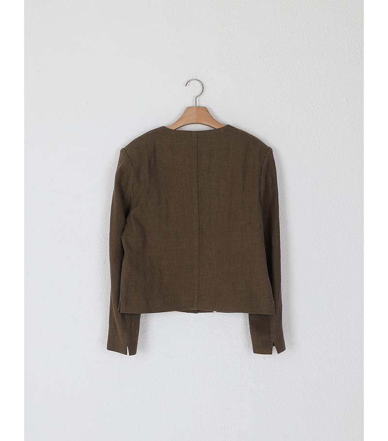 file linen collarless crop jacket