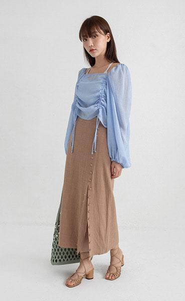 linen button line long skirt
