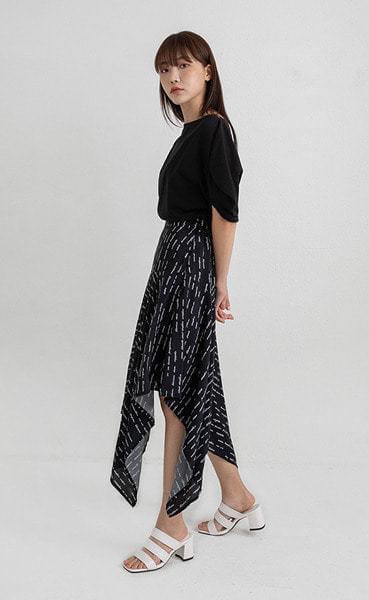 crown unbal midi skirt