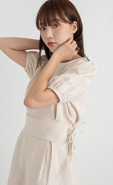 linen cover waist puff mini one-piece