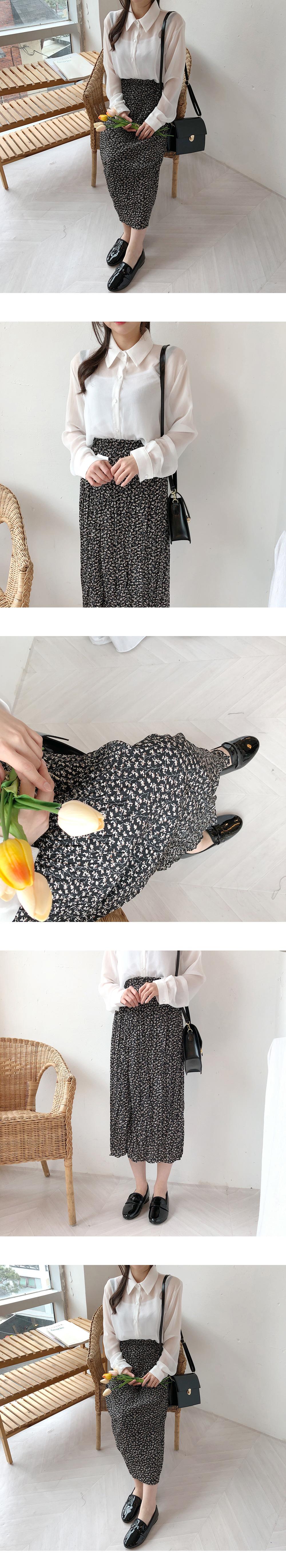 Long wrinkled long skirt