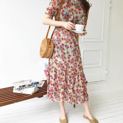 One rose chiffon long dress