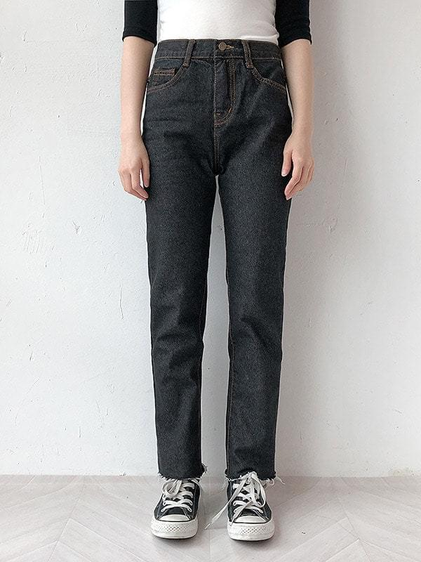 Dark cut exhaust denim pants