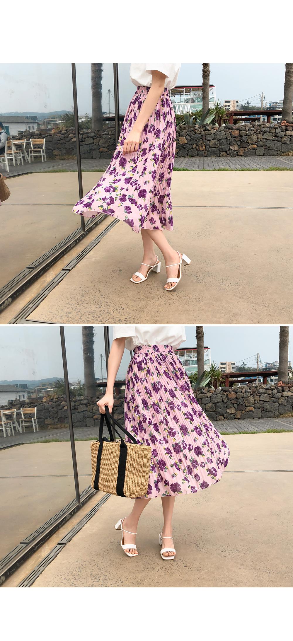 Flower Wrinkle Bending Skirt