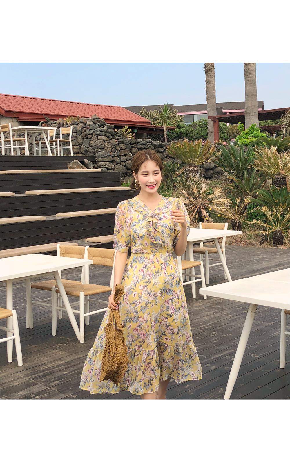 Jace Flower Chiffon Dress