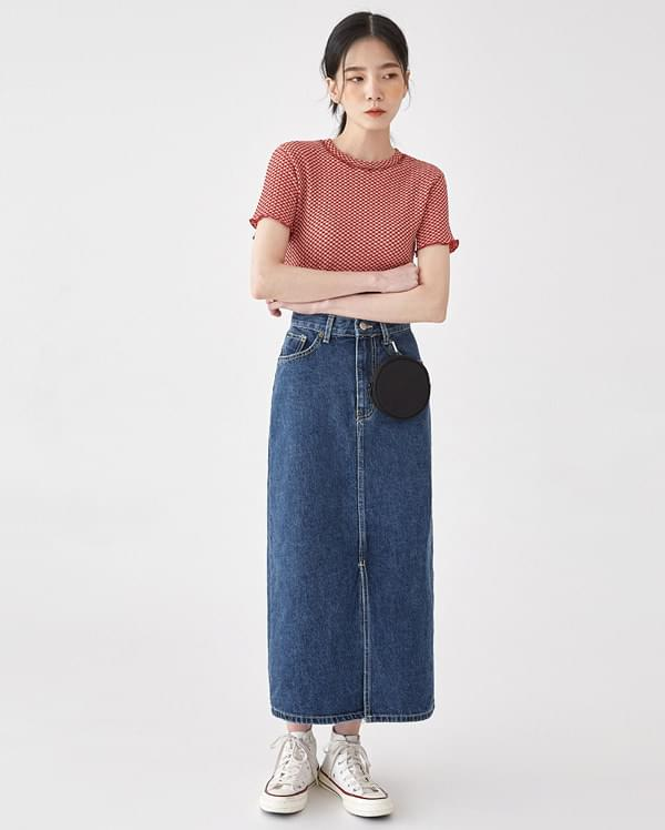papper deep denim skirt