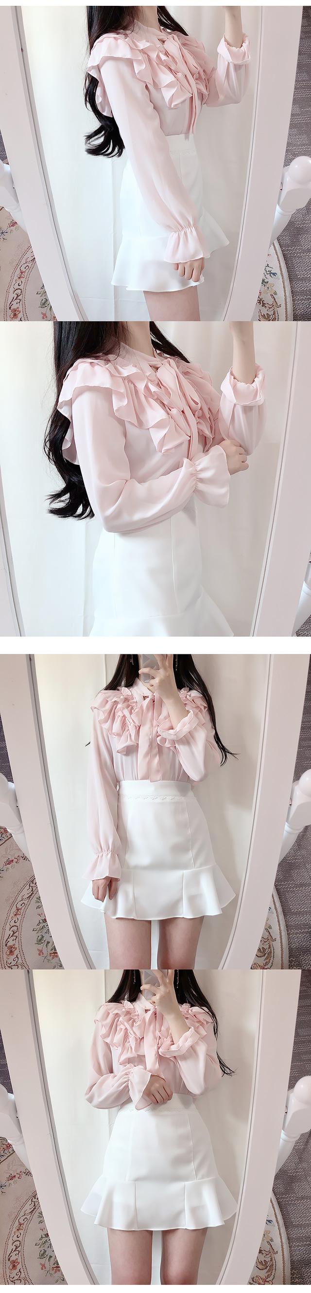 Geneve frilly ribbon blouse