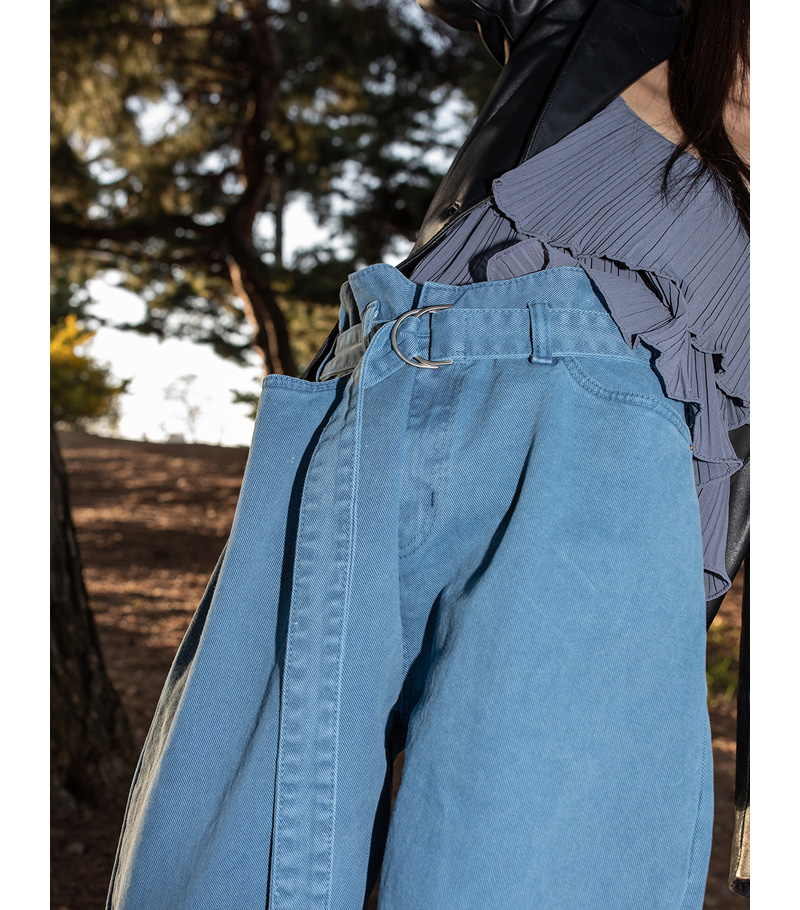 color belted over cotton pants
