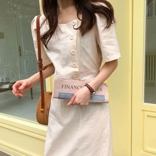 Linen Beige Long Dress