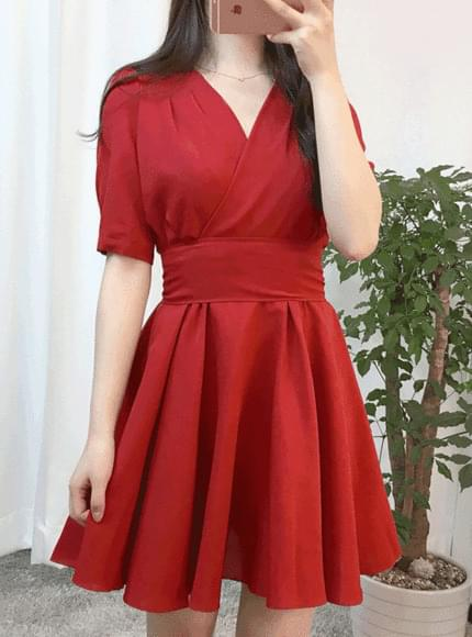 Red Ribbon Wrap One Piece