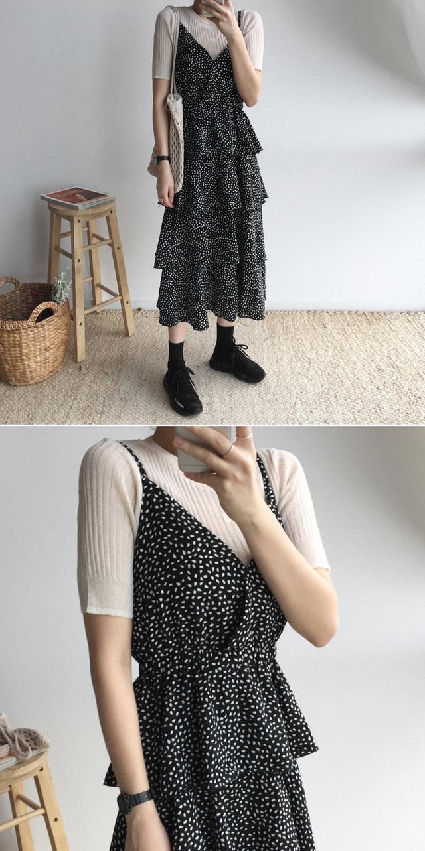 Rib cane strap dress