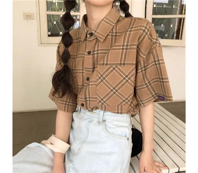 Chocolate chip check short sleeve shirt