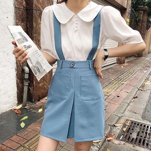 Monochrome sleeve apricot blouse