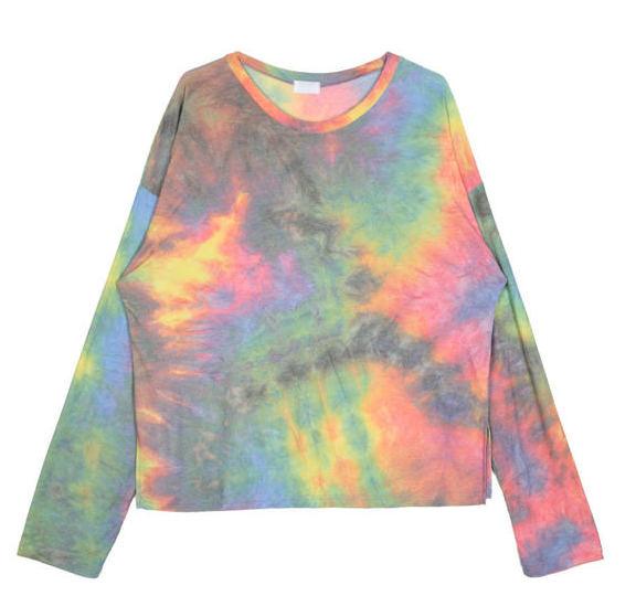 rainbow tie-dye wrinkle T - woman