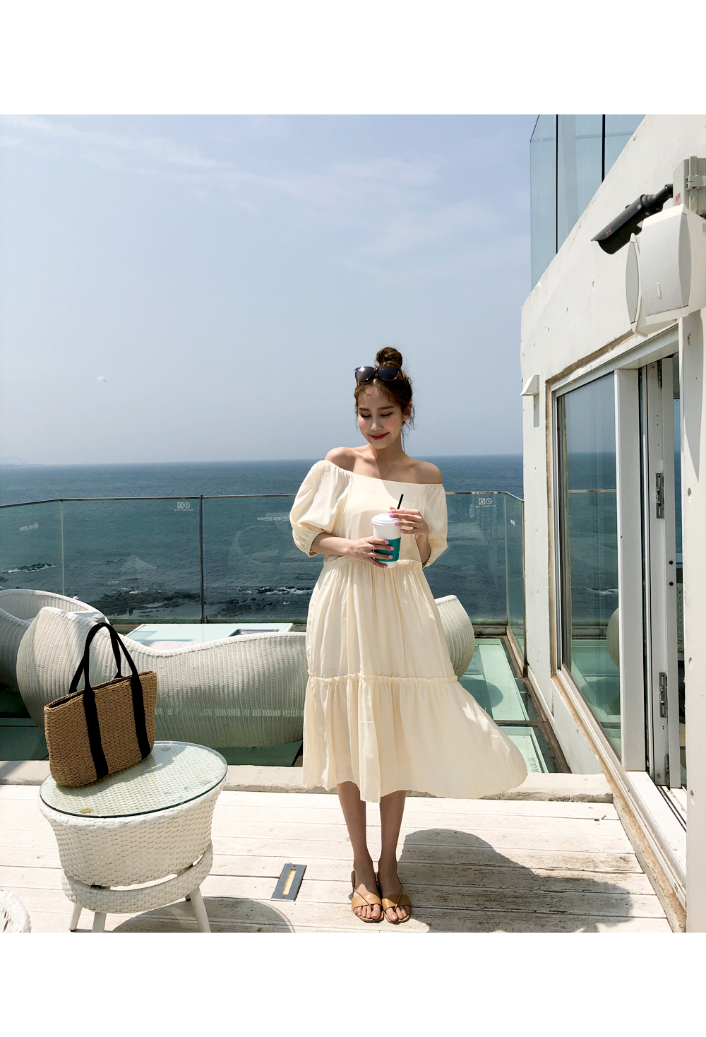 Cream ruffle banding dress