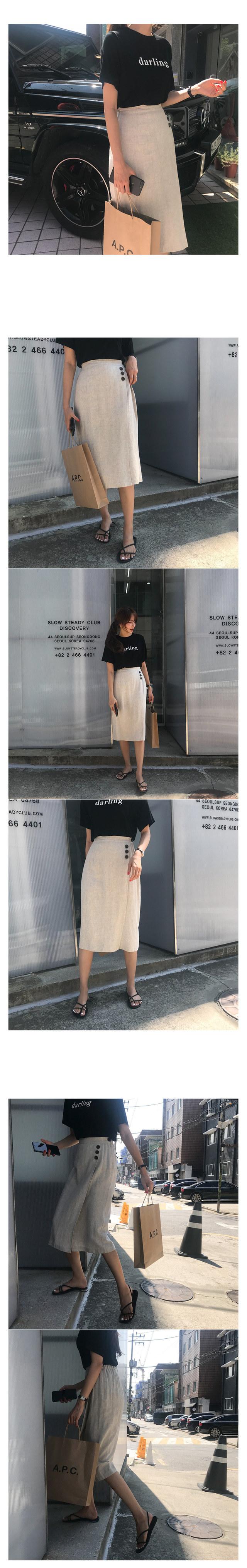 Buttered linen long skirt