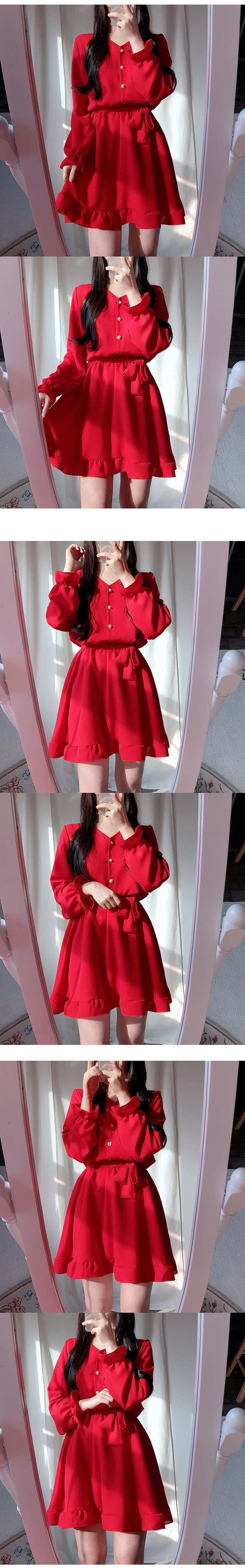 Self-made ♥ Ruby pearl ruffle ops / Ivory color added ♥