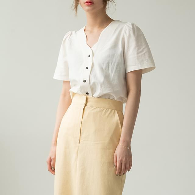 Wavy Ruched Blouse-BL