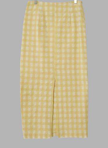 레몬 리플체크 롱스커트