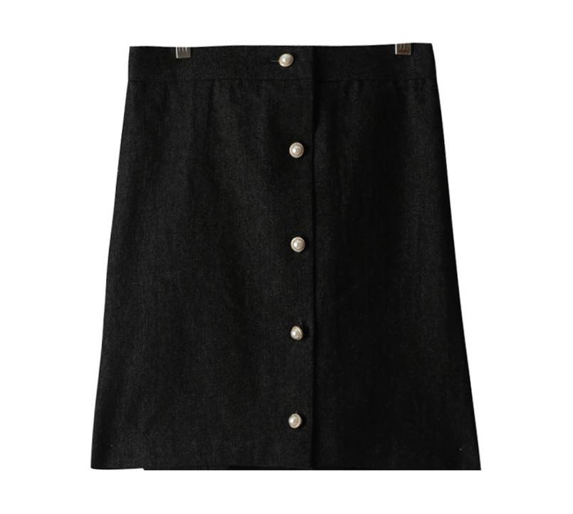 Denim pearl A-line skirt