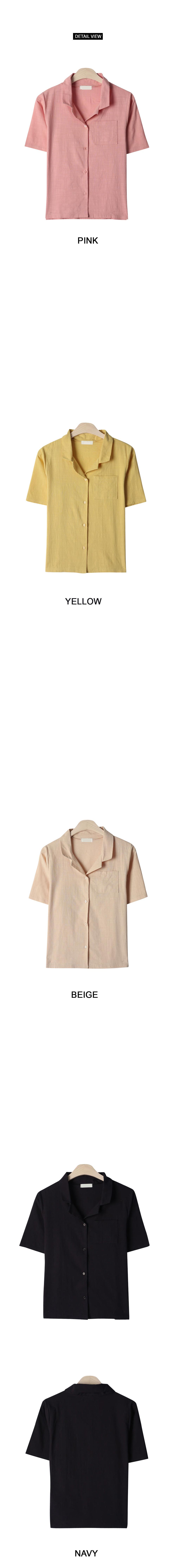 Chewing linen short-sleeved shirt