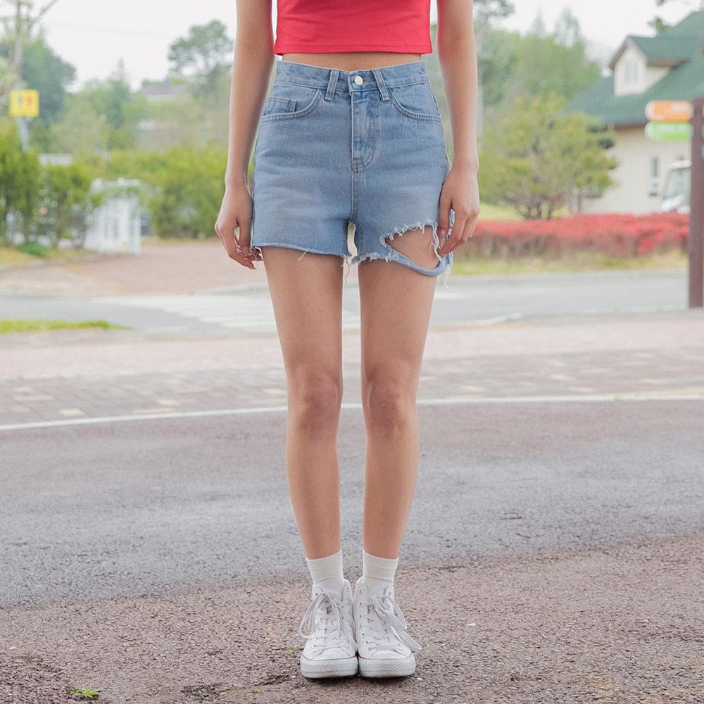 Denim Cutting High Waist Short Pants