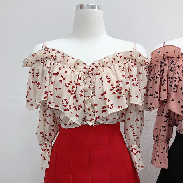 Blouse heart strap off shoulder blouse