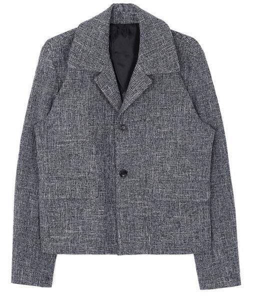 collar tweed short jacket - men