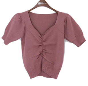 Square Shirring Aplle Short sleeve knit