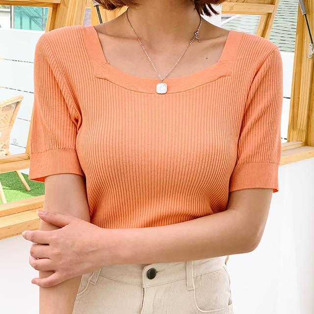 Andy Square & V-neck short sleeve knit