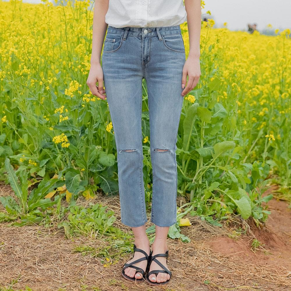 Knee cutting date denim pants
