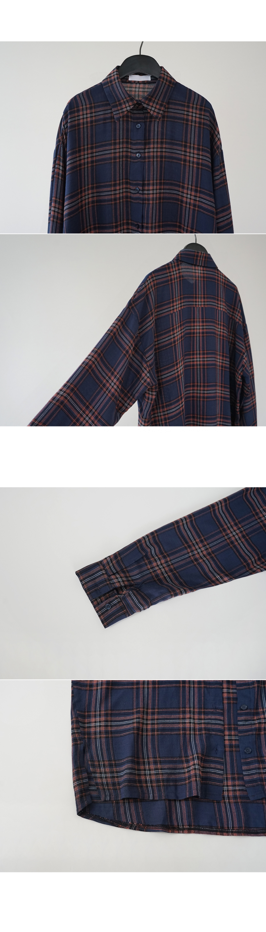 loose plaid rayon shirt (2colors)