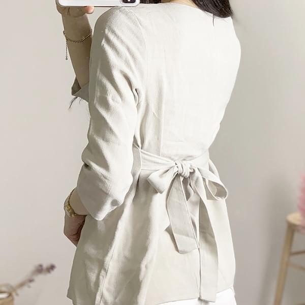 Linen square strap blouse