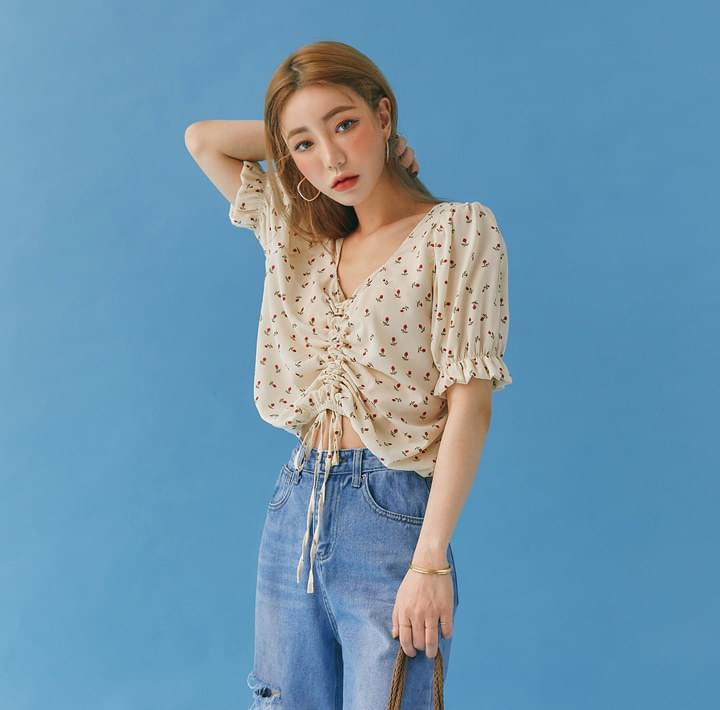ION FLOWER STRING CHIFFON 1/2 BLOUSE