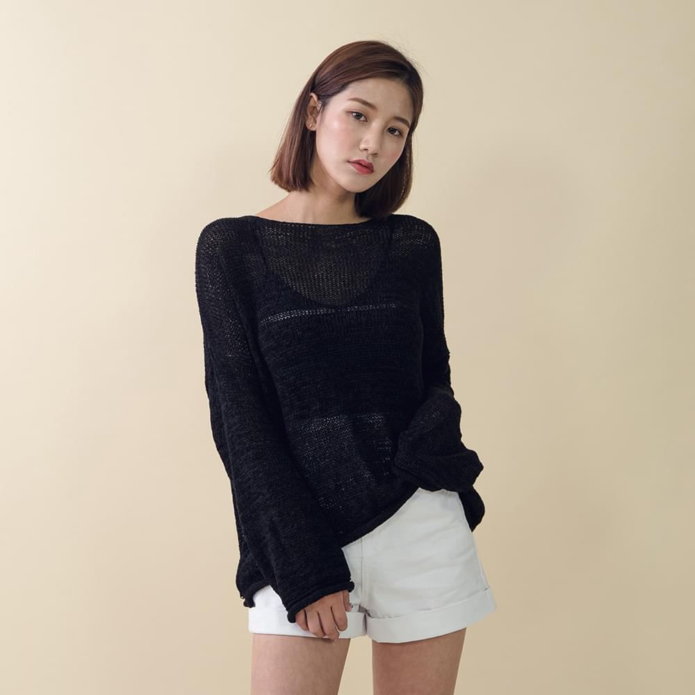Round neck button double-sided cardigan