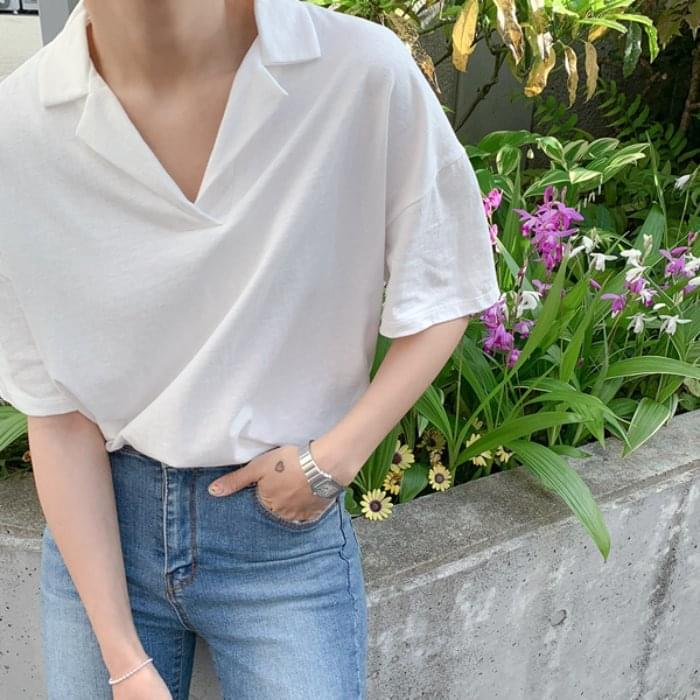 Cotton Collar Short Sleeve Tee