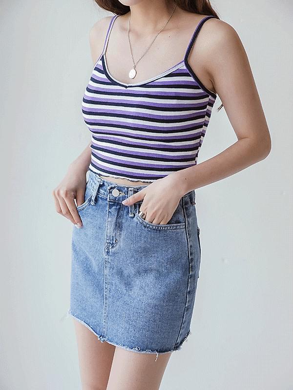 Rainbow Stripe Sleeveless T-shirt