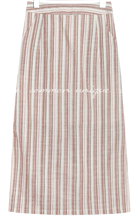 FOEL LINEN STRIPE SIDE SLIT MIDI SKIRT