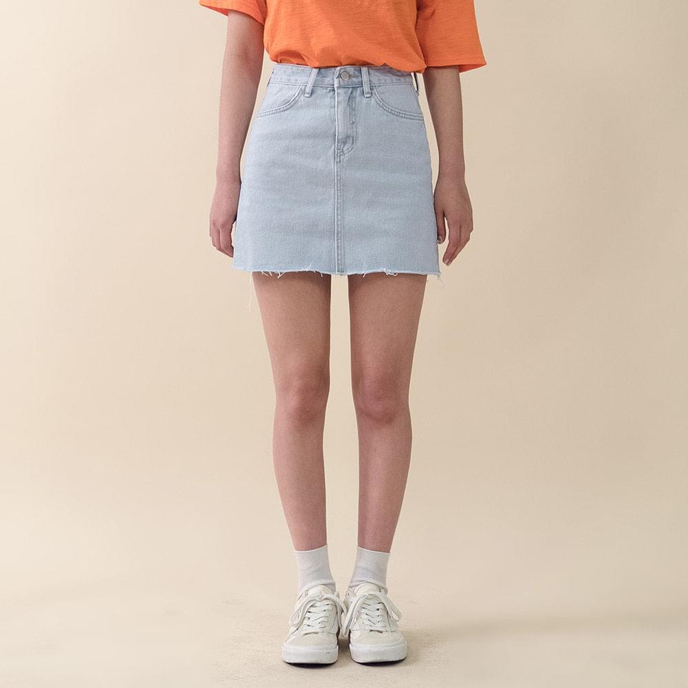 Denim Cutting Short Skirt